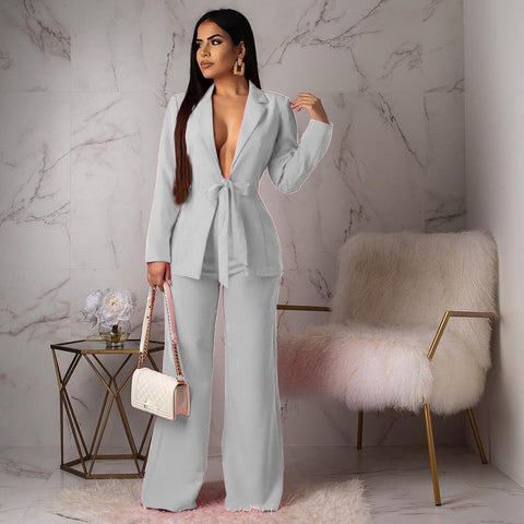 -Women Brand Fashion Sexy Deep V-Neck Long Sleeve White Blazer And Pant Wear To Work Suits