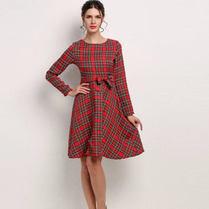 2019 Fashion New Arrival Turn-down Collar Lace-up Plaid 3/4 Sleeve Dress