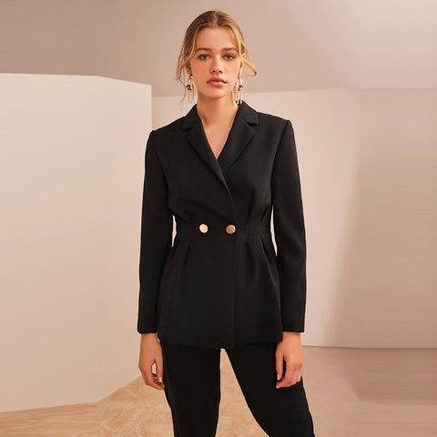 Women Business Formal Work Wear OL 2 Piece Notched Blazer Jacket Pant Suit
