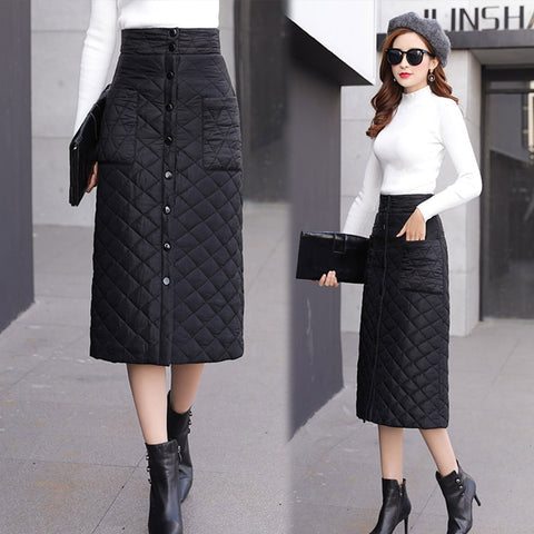 -Women's Fashion Winter Season Quilted Down Cotton Contrast Skirt A-line