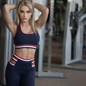 Women Striped Yoga Gym Sportwear Bra & Leggings High Stretch Yoga Suits Quick Dry