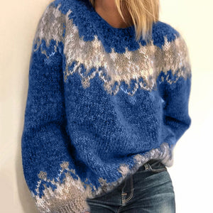 Women's New European Color Patchwork Knit Loose Casual Sweater - ICU SEXY