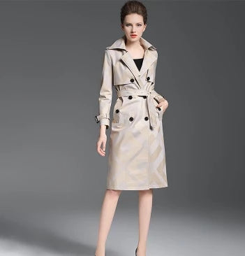 -Women's High Quality Designer Plaid Pattern Button Waist Belted Lapel Trench Coat In Khaki & Red