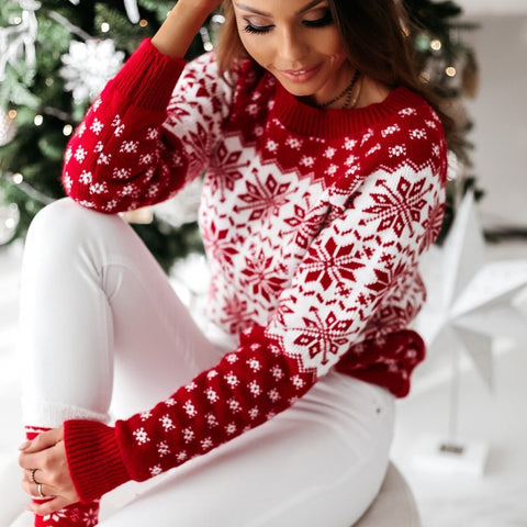 Women's O neck Elk Snowflake Christmas Knitted Pullover Sweater - ICU SEXY