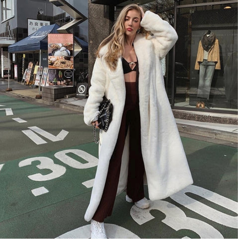 Women's New European Designer Full Length Solid Faux Fur  Coat - ICU SEXY