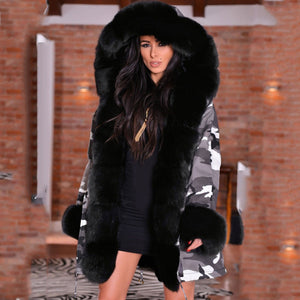 Womens Warm Camouflage Luxury Hooded Faux Fur Coat - ICU SEXY