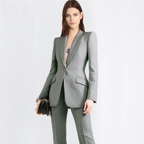 -Women's Wear To Work  2 Piece Long Sleeve V Button Blazer Pant Suit