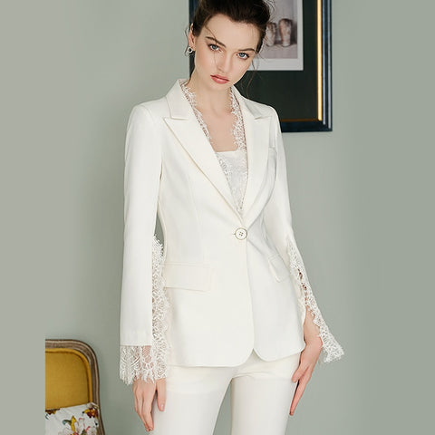 Women's High Quality Formal Designer Deep V Solid White Lace 2 Piece Blazer Pant Suit