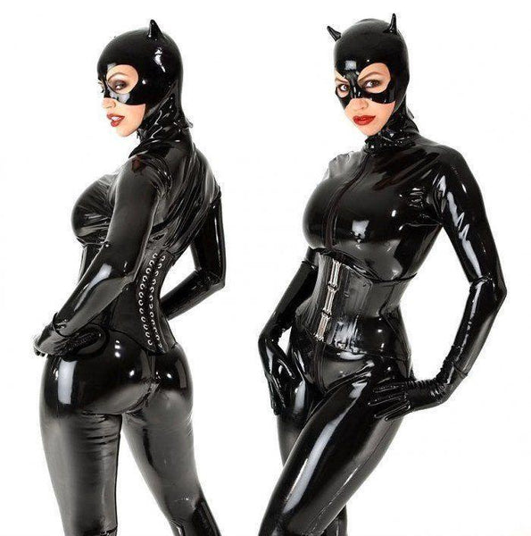 Women's Black Faux Leather Stretch Jumpsuit | 2 Way Zipper Bodysuit With Mask - icu-sexy