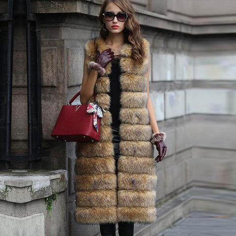 European Brand Designer Women's Sleeveless Thick Brown Mink Fox Fur Coat