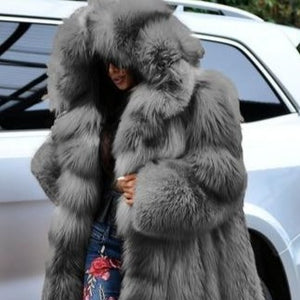 Women's Club Style Warm Hooded Thick Full Length Faux Fox Fur Coat - ICU SEXY
