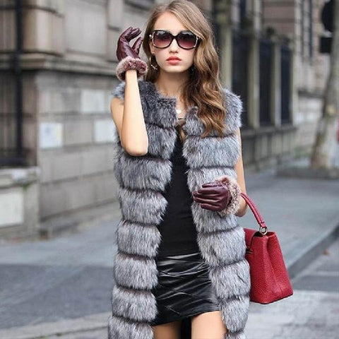 Women's New Brand Fashion European Sleeveless Thick Plush Gray Mink Fur Coat