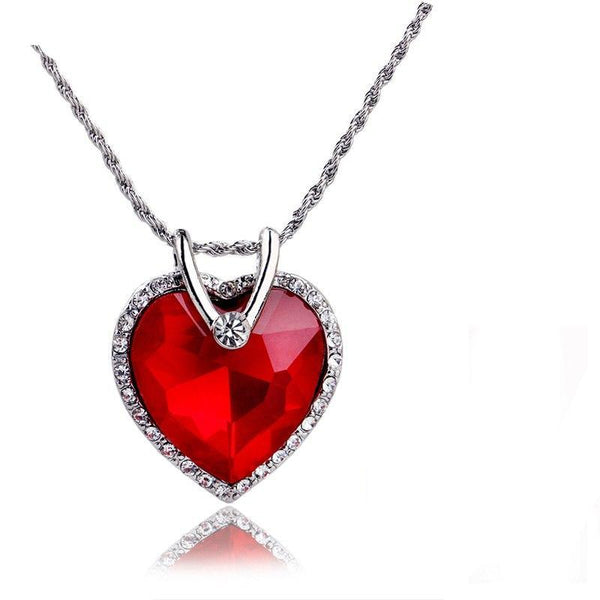 Silver Plated Red Crystal Heart Pendant Necklace - ICU SEXY