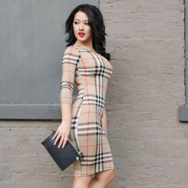 Women's Brand Designer Style Khaki Plaid Patterned Fashion Bodycon Dress