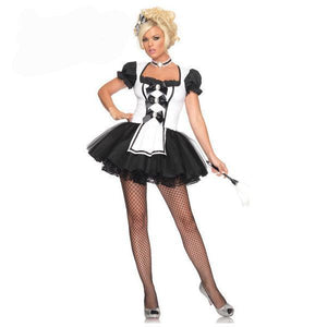 Women's Short Sleeve French Maid Costumes - icu-sexy