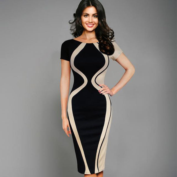 Optical Illusion Colorblock Contrast Patchwork O-Neck Bodycon Work Casual Office Pencil Dress 205 - icu-sexy