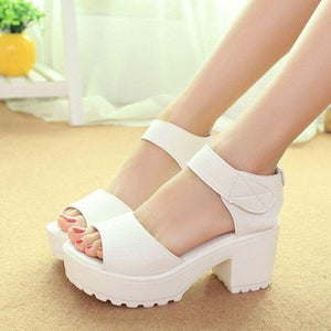 White Women Sandals Hook & Loop Platform High Heels Open Toe - ICU SEXY