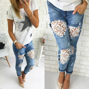 Women's Ripped Jeans Distressed Lace Flower Pants - icu-sexy