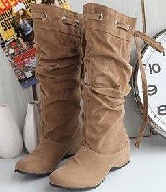 Women's Flat Heel Adjustable Relaxed Knee High Fashion Boot Collection - icu-sexy