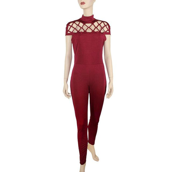 Fashion High Neck Bodysuits Hollow Caged Sleeve Jumpsuit - ICU SEXY