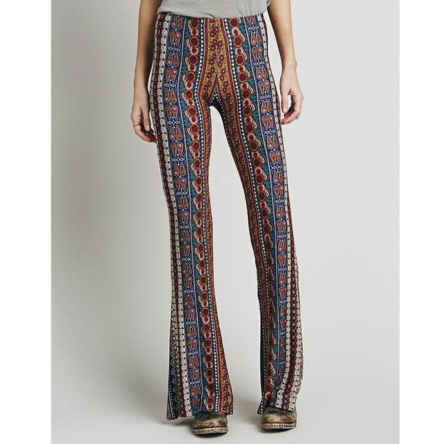 Vintage Bell Bottom Pants Paisley Print Lounge Stretch Boho Trousers - icu-sexy