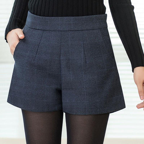 Women Wool Thickened Plaid Fashion Shorts - ICU SEXY