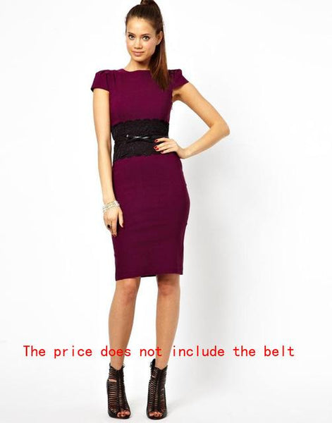Women's New Fashion Elegant Solid and Lace Bodycon Dress - icu-sexy