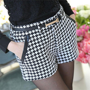 Women's Fashion Designer Style Wool Thickened Houndstooth Shorts New - ICU SEXY