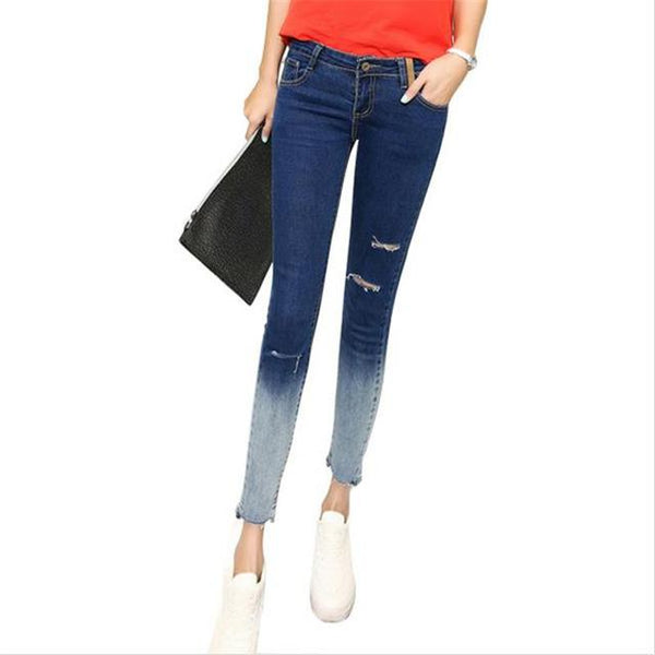 Pencil Style Hole Women Fashion Knee Ripped Ankle-Length Skinny Denim Jeans - icu-sexy