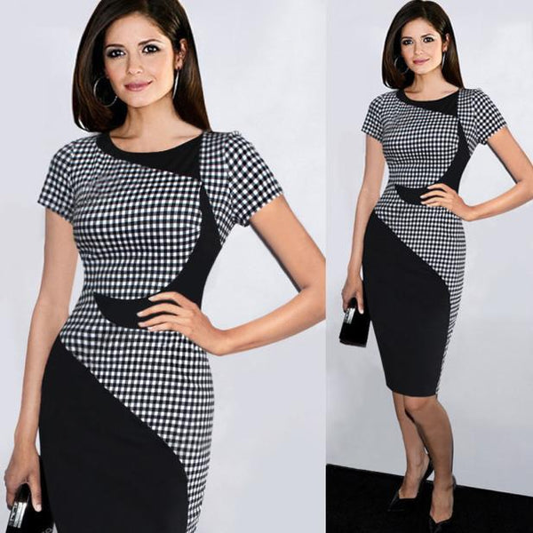 Women's Fashion Plaid Stiched Bodycon Knee Length Dress - icu-sexy