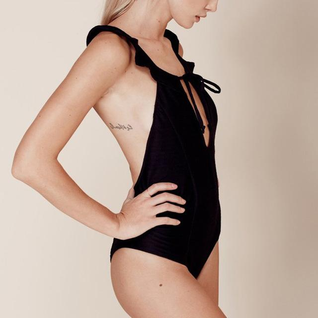 HYH Cross Back Black Frill Cut Swimsuit - ICU SEXY
