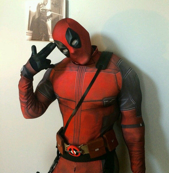Wade Wilson Black and Red Spandex 3D Print Deadpool Costume - icu-sexy