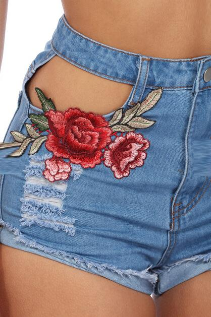 Summer Sexy Appliques Rose Style Cross Embroidered High Waist Shorts - icu-sexy