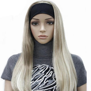 Long 3/4 Straight Blonde Highlighted Wig with Adjustable Black Headband - icu-sexy