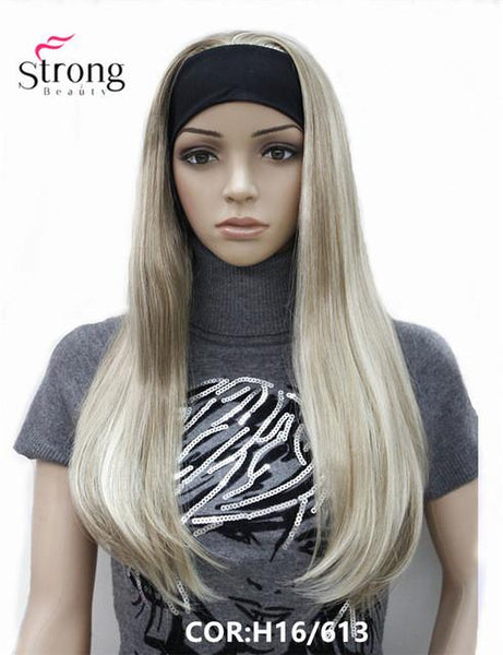 Long 3/4 Straight Blonde Highlighted Wig with Adjustable Black Headband - ICU SEXY