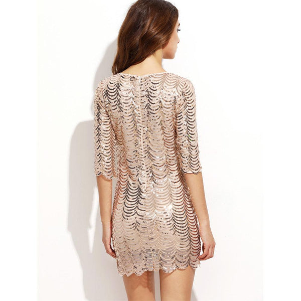 Women's  Casual  Mesh ONeck Mini Sequin Dress - ICU SEXY