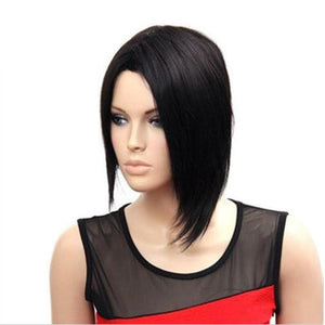 Natural Black Hair Asymmetrical Short Bob Heat Resistant Front Wig - icu-sexy