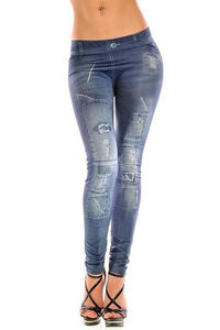 New Stylish Gray Faux Jean Denim Like Women Leggings - ICU SEXY