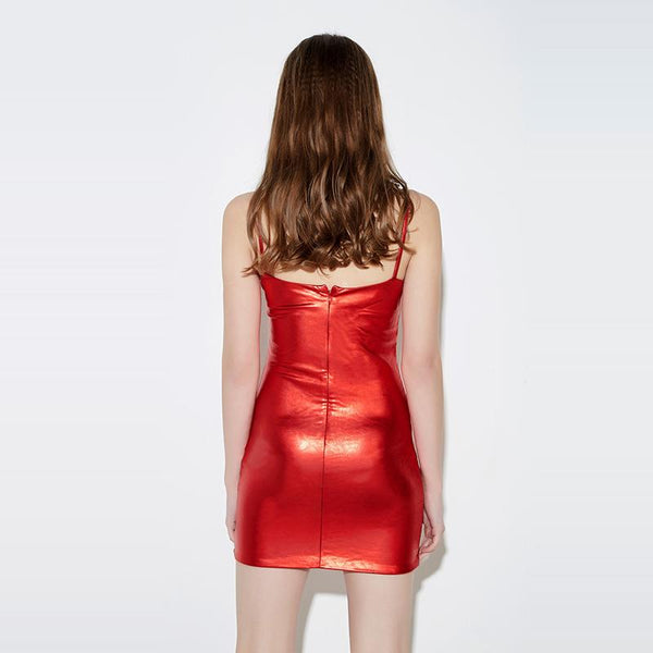 Red Sequin Patchwork Velvet Spaghetti Strap Bodycon Mini Dress - icu-sexy