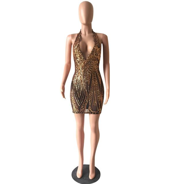 Women's Fashion Mesh Glitter Back Sequins Detail Celebrity Bandage Party Dress - icu-sexy