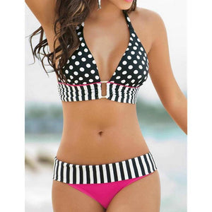 New Retro Brazilian Swimsuit Stripe Dotted Bikini Set - icu-sexy