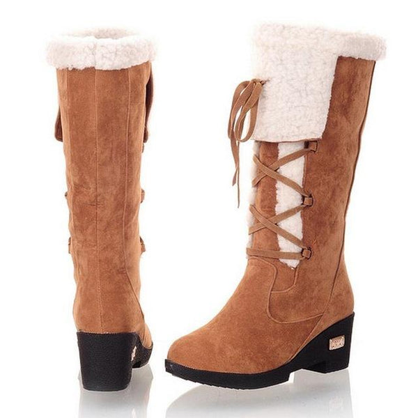 Popular Gladiator Style women's Fashion Plush Winter Half Knee Boots - icu-sexy