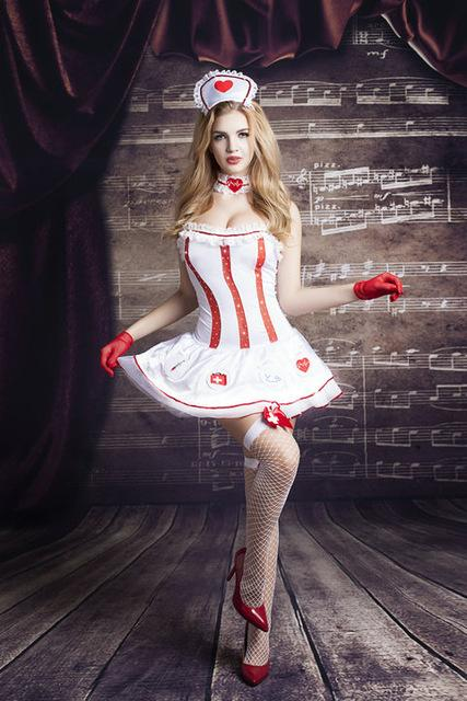 Naughty Nurse Costume Head Wear+Dress+Gloves - icu-sexy