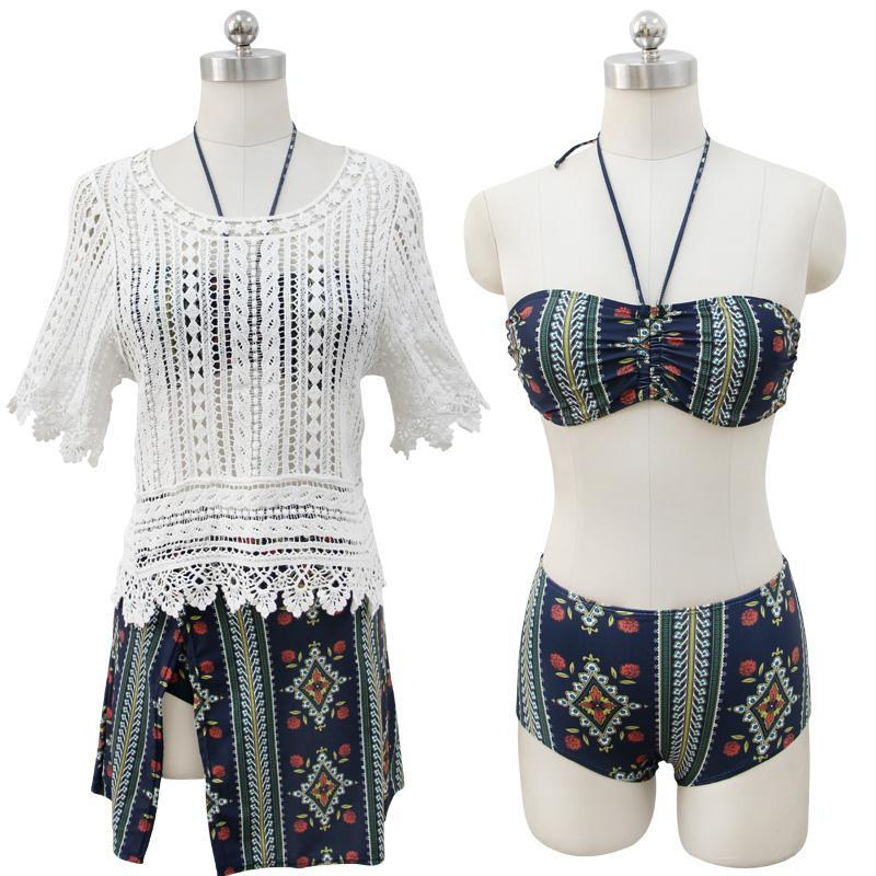 New Fashion Push up 4 Piece Bikini Set Beach Dress - ICU SEXY