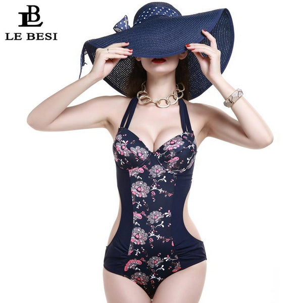 One-Piece Swimsuit Large Cup Swimwear Women Push Up Floral Printed Beachwear - icu-sexy