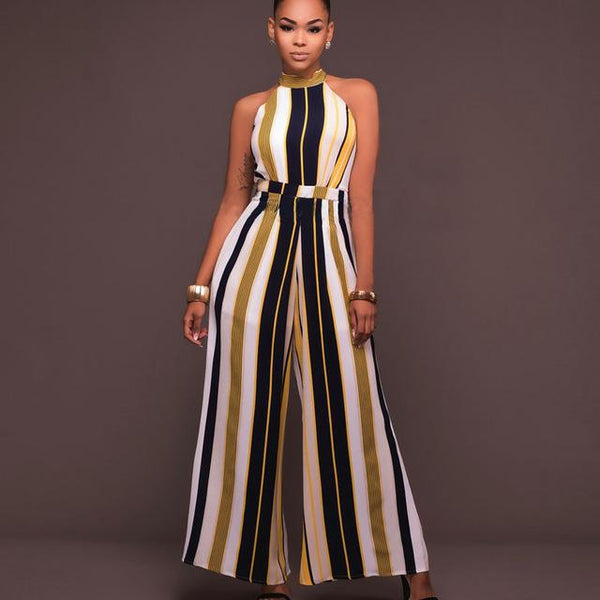 One piece jumpsuit Sexy Sleeveless Halter Striped  Wide leg Jumpsuit - ICU SEXY