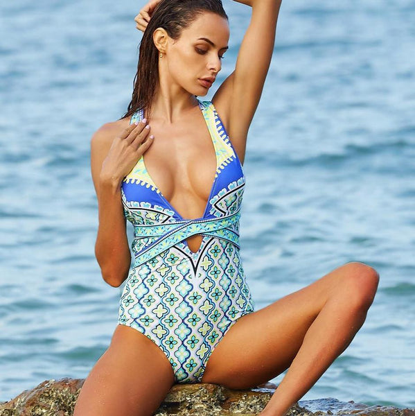Sexy One Piece Swimsuit Printed Bandage High Waist Swimwear - icu-sexy