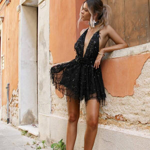 Sexy Off Shoulder Sequin Tassel Summer  Backless Vintage Night Club Dress - icu-sexy
