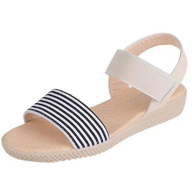 Women's Stripe Summer Casual Open Toe Flat Sandals - ICU SEXY