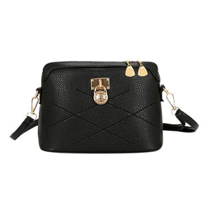 Women's Designer Fashion Shell Lock Black Crossbody Shoulder Bag - icu-sexy